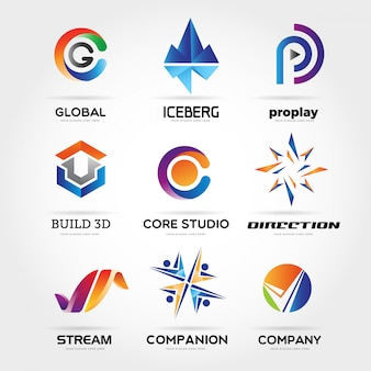 Abstract colorful business logo collection