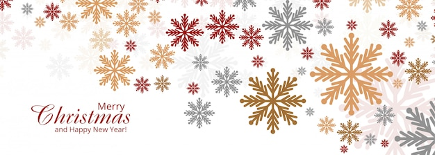 Abstract colorful christmas snowflakes card