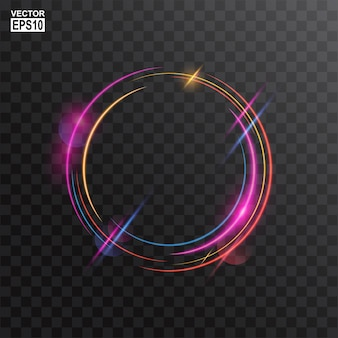 Abstract colorful circle light frame background