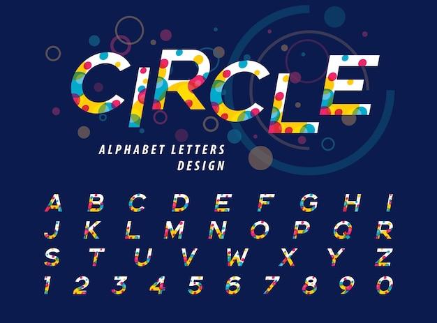Абстрактные красочные круги внутри букв алфавита и цифр