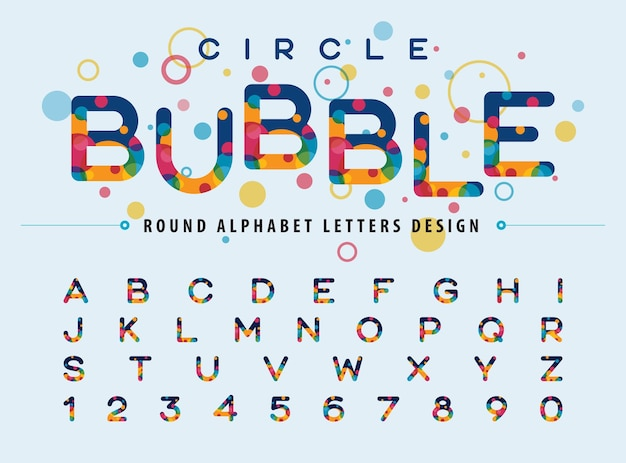 Abstract colorful circles inside alphabet letters modern color bubble fonts rounded style letters set