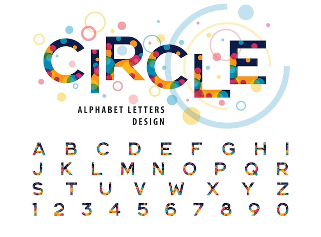 Abstract colorful circles inside alphabet letters and numbers modern color bubble fonts