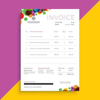 Abstract colorful circles invoice template design