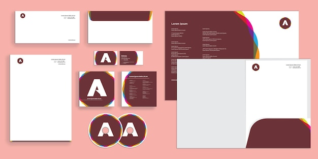 Abstract colorful cirle blended modern corporate business identity stationary