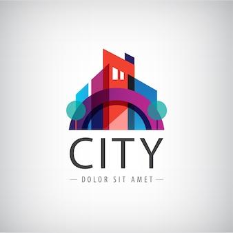 抽象的なカラフルな都市、建物構成記号、アイコン、分離されたロゴ