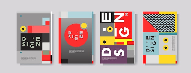 Abstract colorful collage poster design template