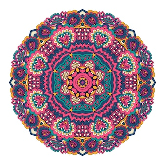 Абстрактный красочный декоративный узор медальона вектор бохо мандала с цветочным