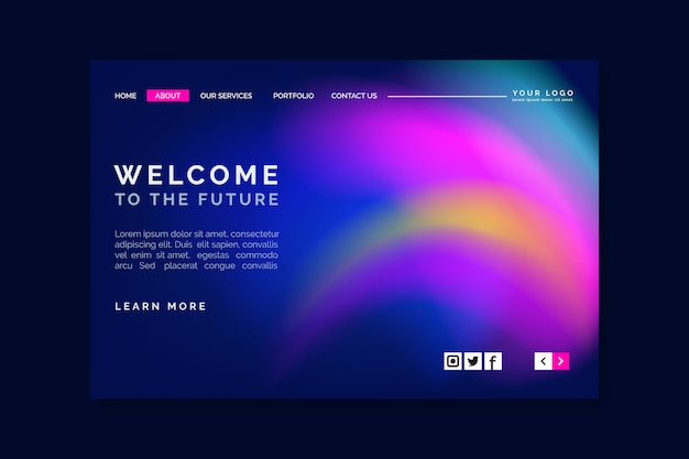 Abstract colorful delusion landing page template