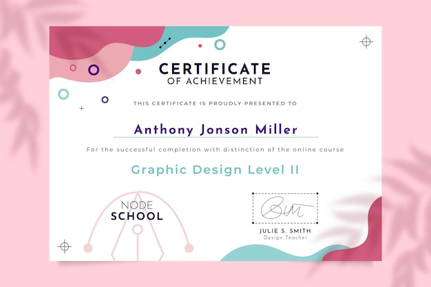 Abstract colorful design certificates
