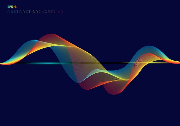 Abstract colorful digital equalizer wave lines