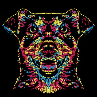 Abstract colorful dog face illustration