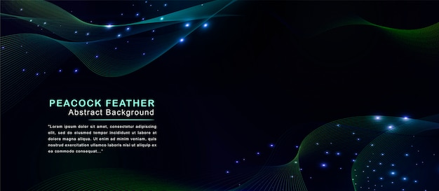 Abstract colorful feather peacock background with futuristic light dots