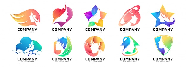 Abstract colorful feminine logo collection for company