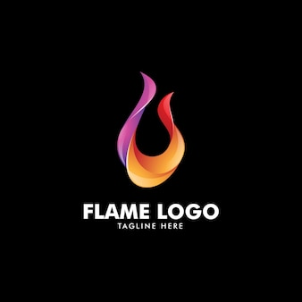 Abstract colorful fire flame logo