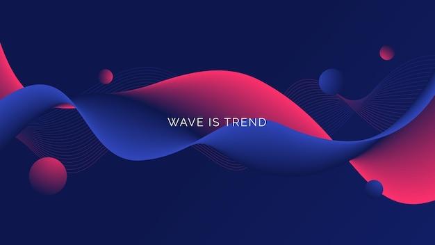 濃い青色の背景に分離された抽象的なカラフルな流れる波線