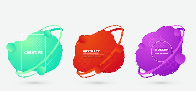 抽象的なカラフルな流体バッジデザインセット。抽象的な形構成アートワーク。