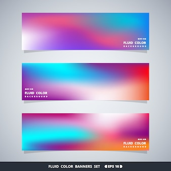 Abstract colorful fluid mesh banners set.