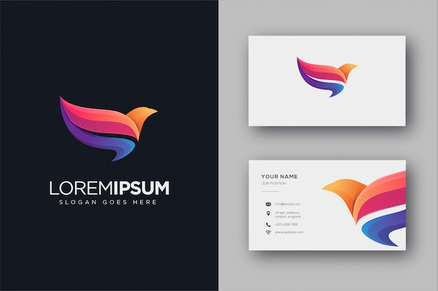 Abstract colorful flying bird logo and business card