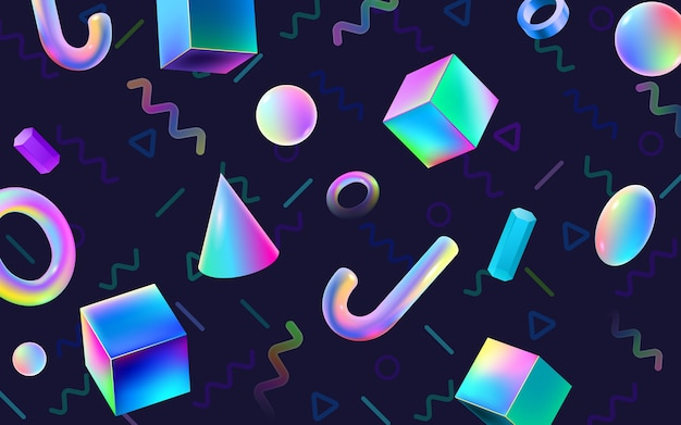 Abstract colorful geometric background with 3d blocks