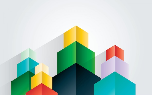 Abstract colorful geometric cube element design