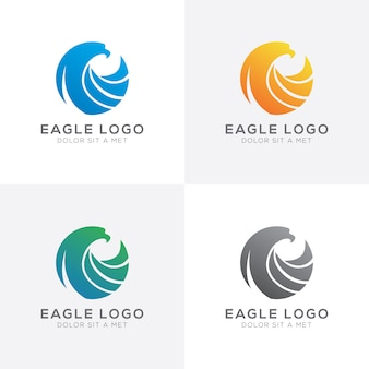 Abstract colorful geometric eagle logo design vector set