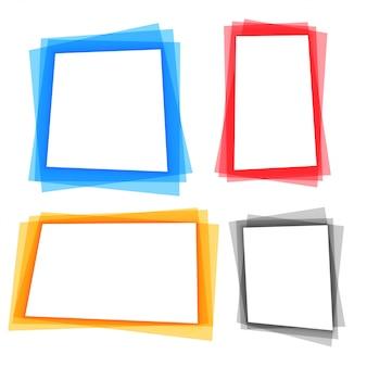 Set di bordi di cornice geometrica colorata astratta
