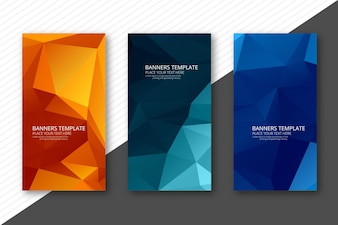 Abstract colorful geometric polygon banners