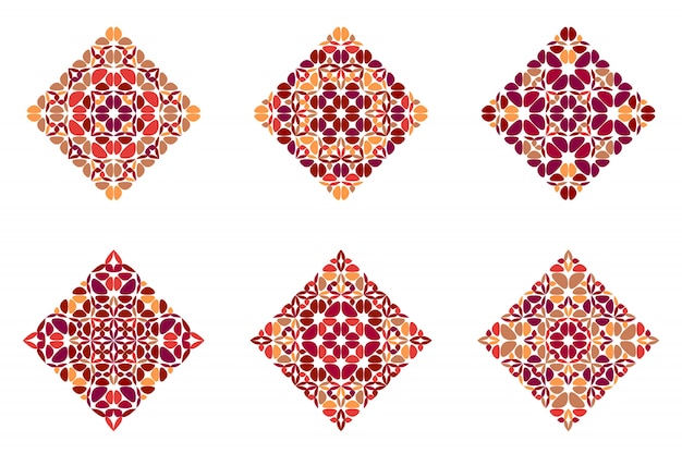Abstract colorful geometrical ornate petal square set