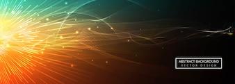抽象的なカラフルな輝く波の背景のベクトル