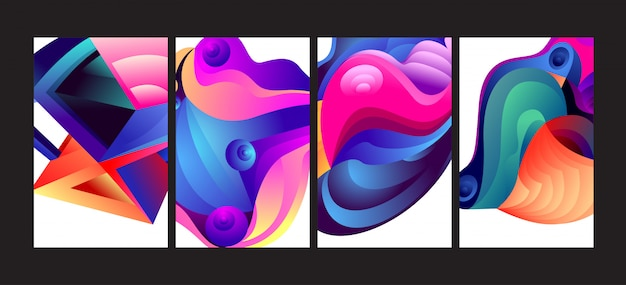 Abstract colorful gradient fluid background set.