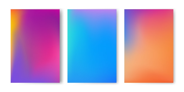 Abstract colorful gradient mesh background set.