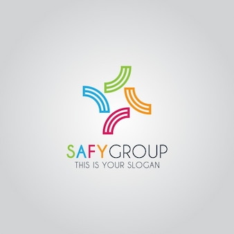 抽象的なカラフルなグループのロゴテンプレート