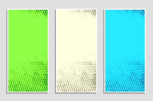 Abstract colorful halftone banner set