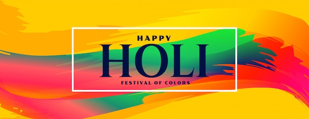 Abstract colorful happy holi indian festival banner