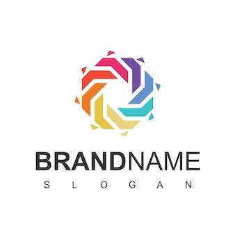 Abstract colorful hexagon logo design template