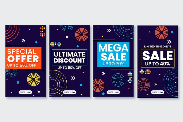 Abstract colorful instagram sale stories collection