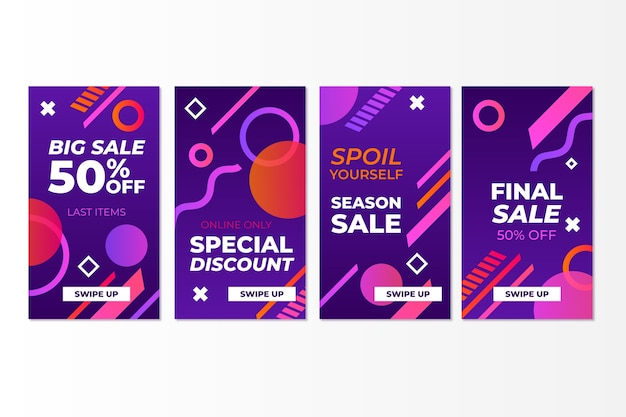 Abstract colorful instagram sale stories concept