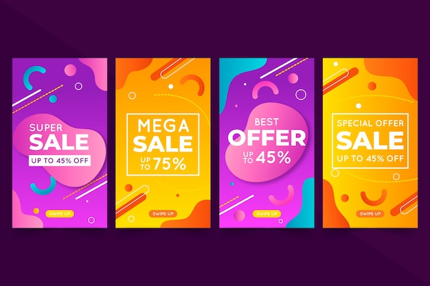 Абстрактная красочная концепция рассказов продажи instagram