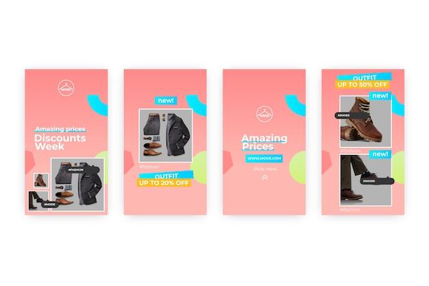 Абстрактный красочный пакет рассказов продажи instagram
