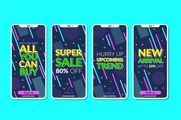 Abstract colorful instagram sale stories