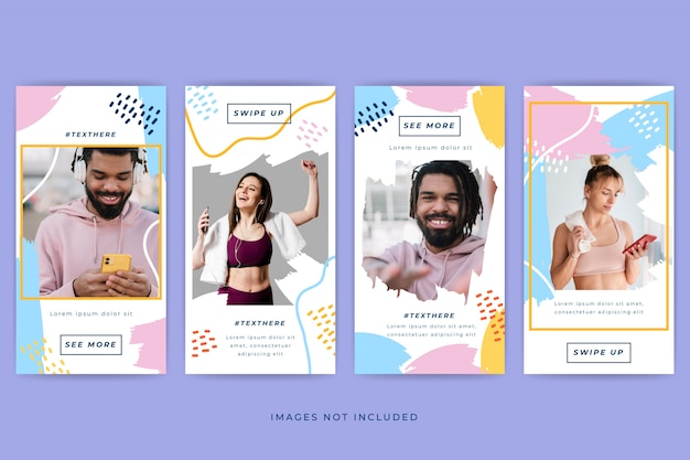 Abstract colorful instagram stories template