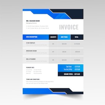 Abstract colorful invoice bill design template