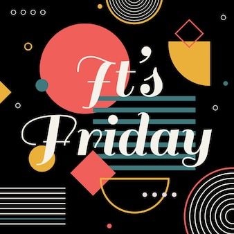 Abstract colorful it's friday background Premium Vector