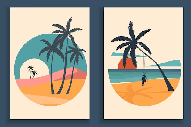 Abstract colorful landscape poster collection. set of contemporary art beach print templates.