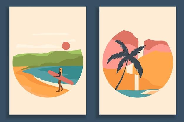Коллекция абстрактных красочный пейзаж плакат. набор шаблонов печати пляжа современного искусства.