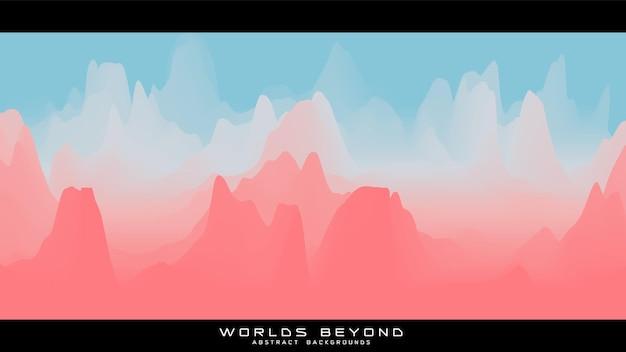 Paesaggio colorato astratto con nebbia nebbiosa fino all'orizzonte su pendii montani
