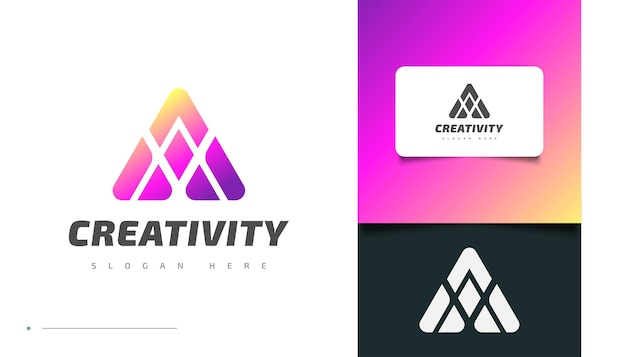 Abstract colorful letter a logo design