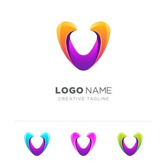 Abstract colorful letter v logo variation