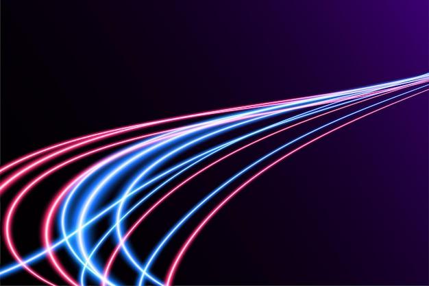 モーションブラー効果のある抽象的なカラフルなライトトレイル。速度の背景。軽いコンセプトデザイン。ベクトルイラスト