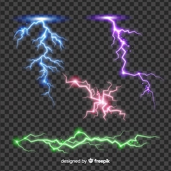 Abstract colorful lightning collection on simple background